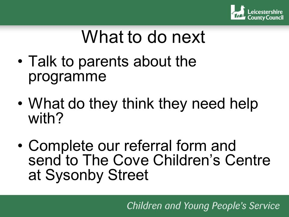What to do next Talk to parents about the programme What do they think they need help with.