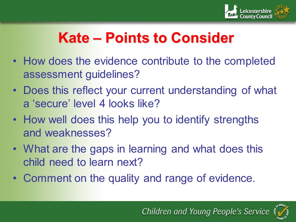 Kate – Points to Consider How does the evidence contribute to the completed assessment guidelines? Does this reflect your current understanding of wha