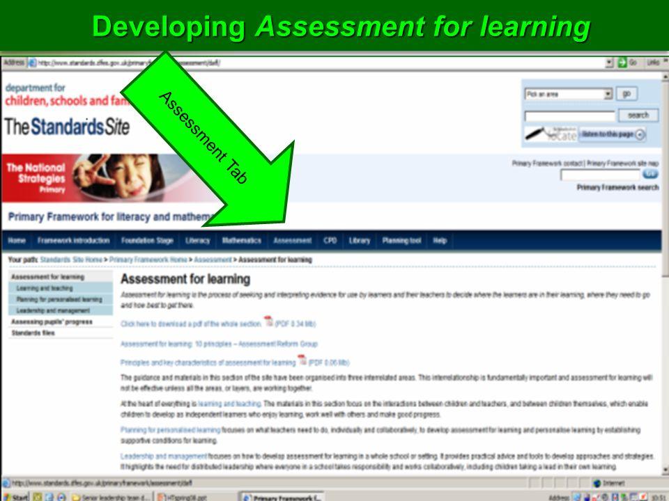 Developing Assessment for learning Assessment Tab