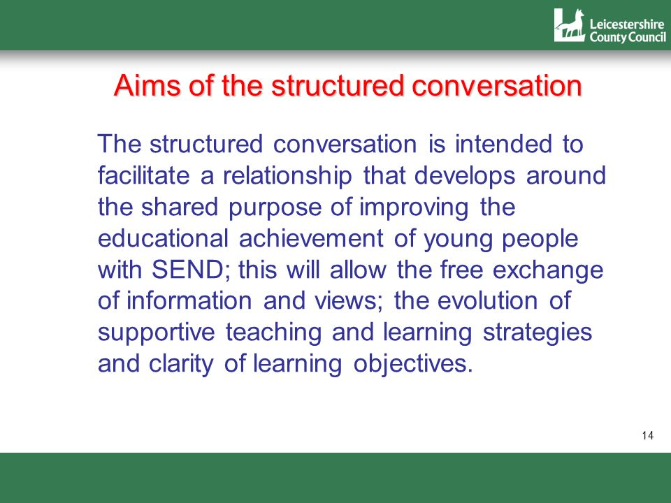 Aims of the structured conversation The structured conversation is intended to facilitate a relationship that develops around the shared purpose of im