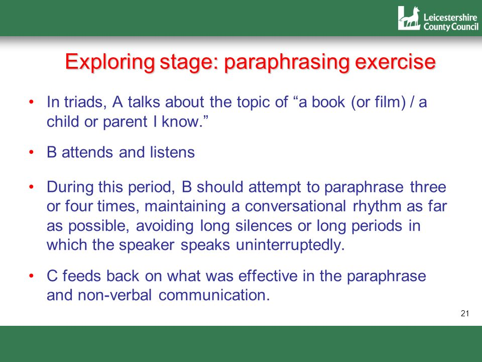 21 Exploring stage: paraphrasing exercise In triads, A talks about the topic of a book (or film) / a child or parent I know. B attends and listens Dur