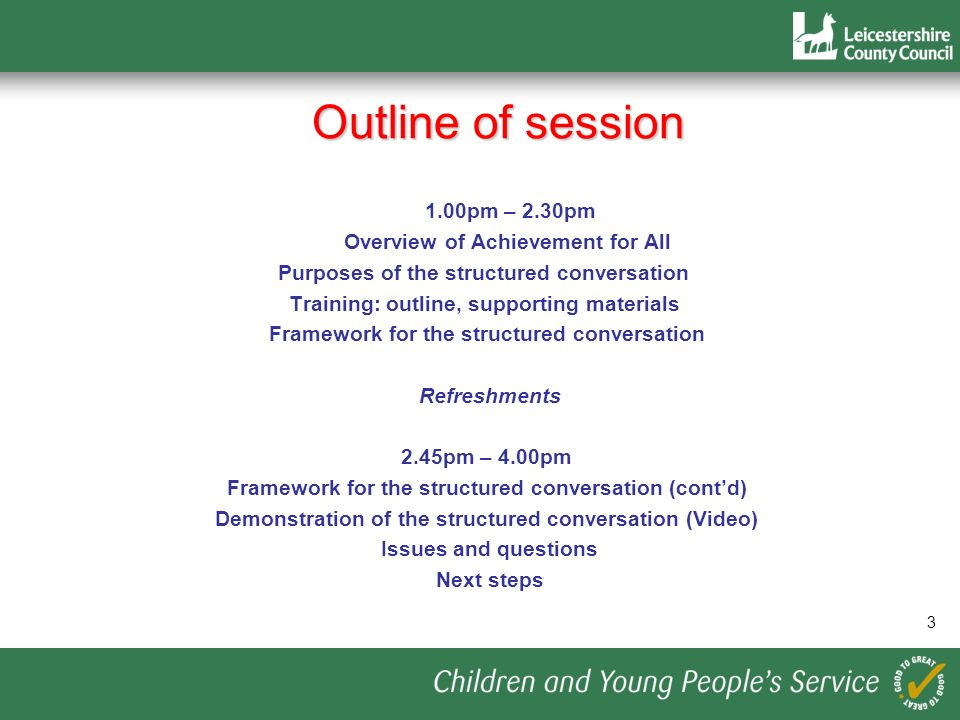 Outline of session 1.00pm – 2.30pm Overview of Achievement for All Purposes of the structured conversation Training: outline, supporting materials Fra