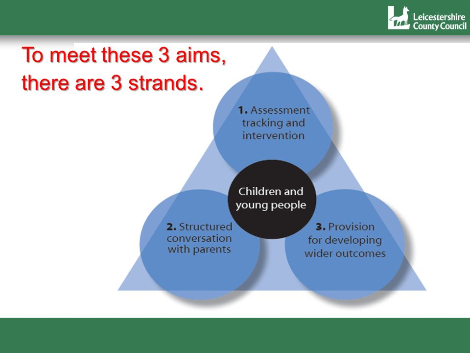 7 To meet these 3 aims, there are 3 strands.