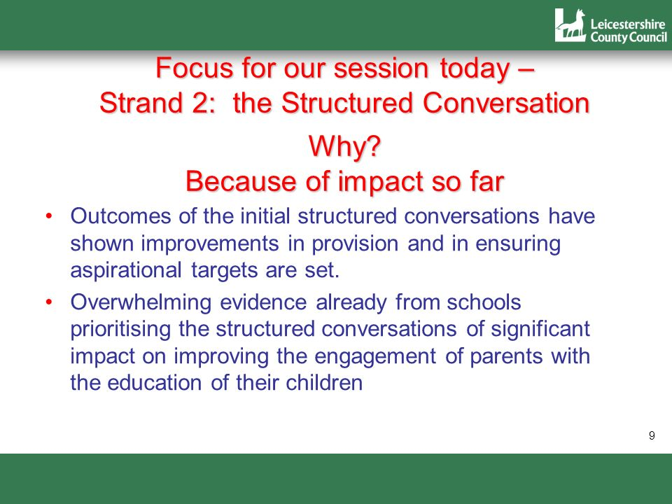 Focus for our session today – Strand 2: the Structured Conversation Why? Because of impact so far Outcomes of the initial structured conversations hav
