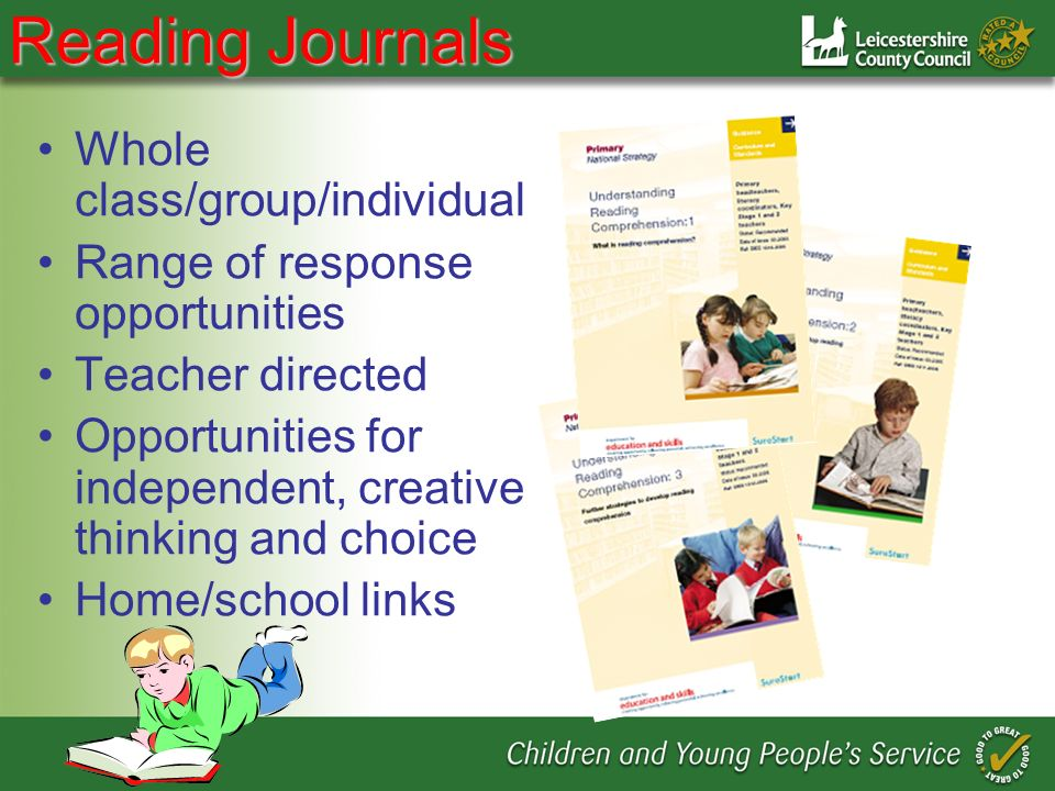 Reading Journals Whole class/group/individual Range of response opportunities Teacher directed Opportunities for independent, creative thinking and choice Home/school links