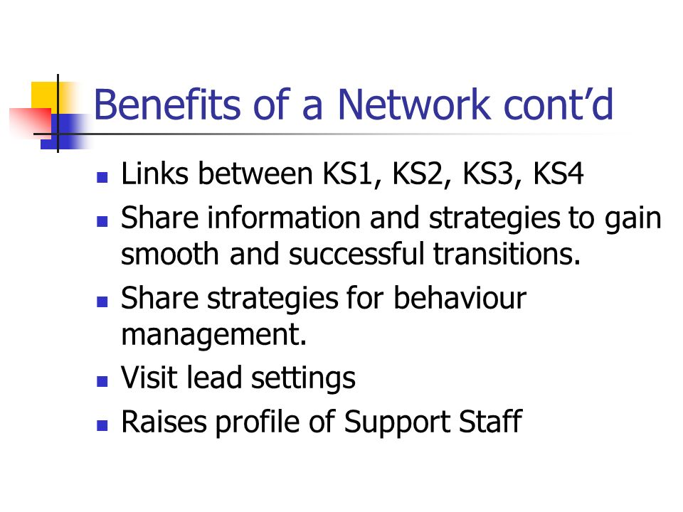 Benefits of a Network contd Links between KS1, KS2, KS3, KS4 Share information and strategies to gain smooth and successful transitions.