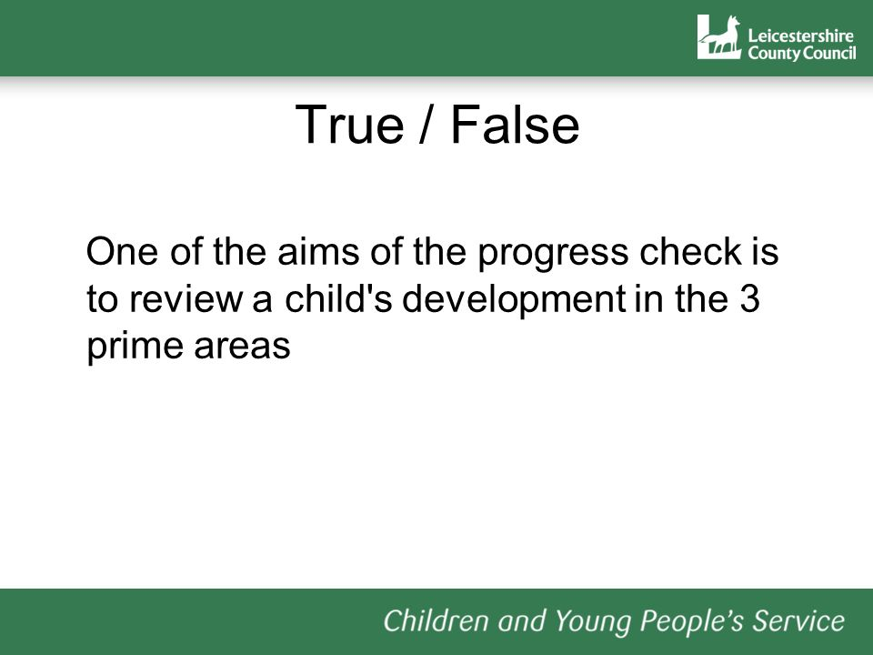True / False One of the aims of the progress check is to review a child s development in the 3 prime areas
