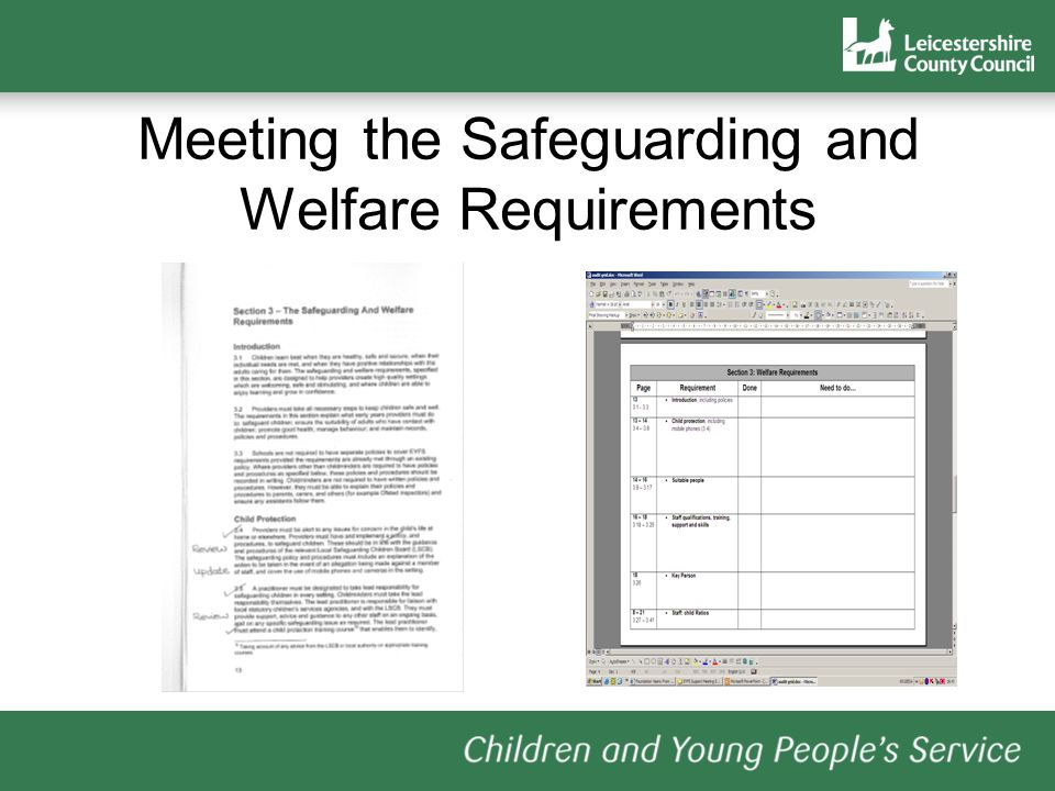 Meeting the Safeguarding and Welfare Requirements