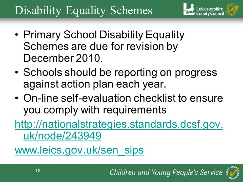 12 Disability Equality Schemes Primary School Disability Equality Schemes are due for revision by December 2010.