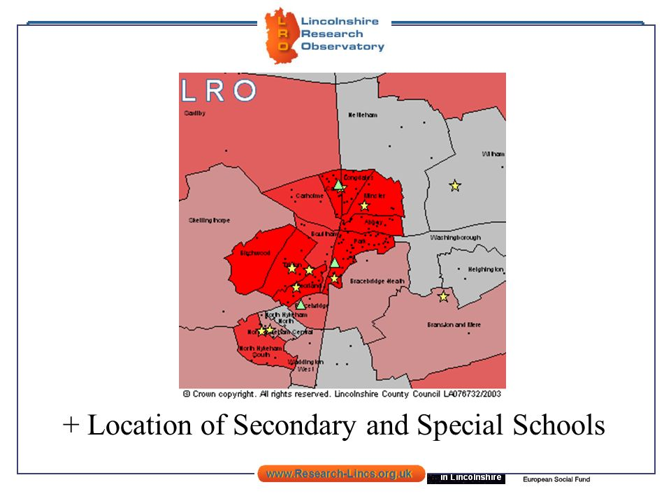 + Location of Secondary and Special Schools