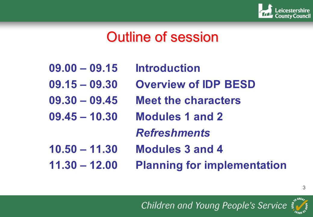 Outline of session – 09.15Introduction – 09.30Overview of IDP BESD – Meet the characters – 10.30Modules 1 and 2 Refreshments – Modules 3 and – Planning for implementation 3