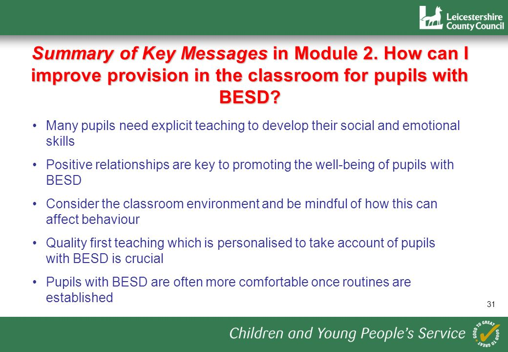31 Summary of Key Messages in Module 2.