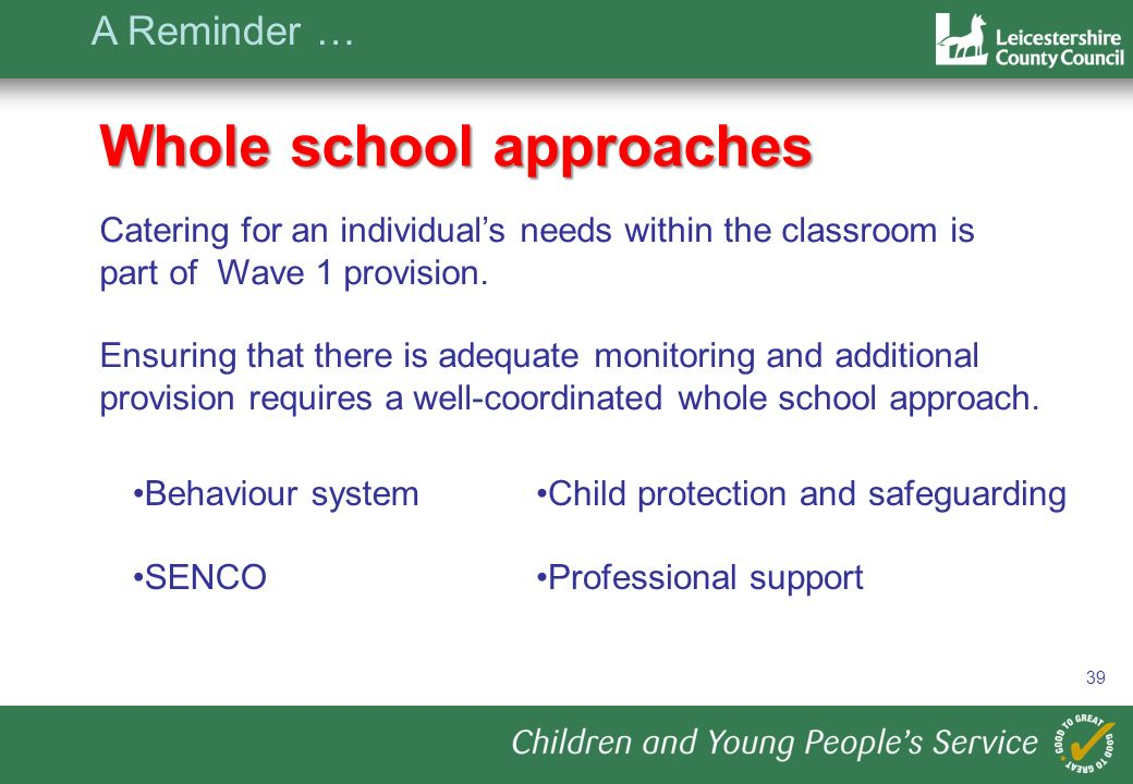 39 Whole school approaches Catering for an individuals needs within the classroom is part of Wave 1 provision.