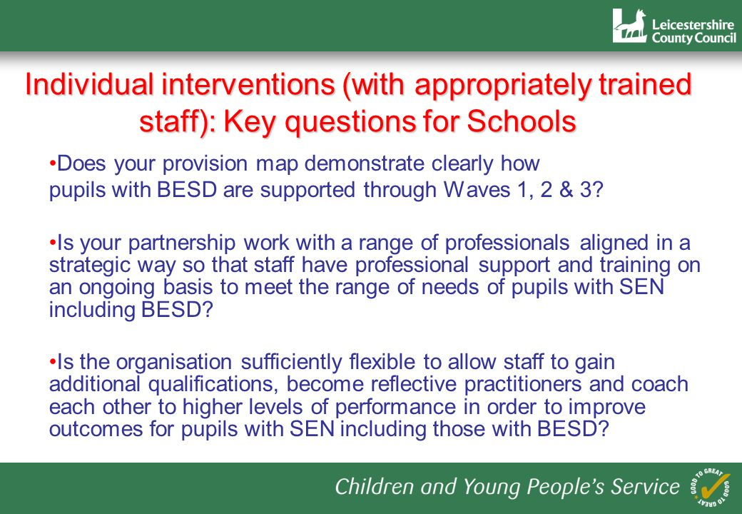 Individual interventions (with appropriately trained staff): Key questions for Schools Does your provision map demonstrate clearly how pupils with BESD are supported through Waves 1, 2 & 3.