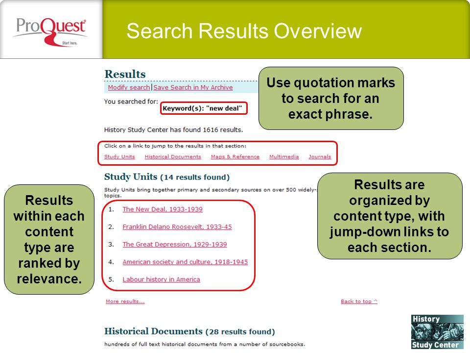 Search Results Overview Use quotation marks to search for an exact phrase. Results are organized by content type, with jump-down links to each section