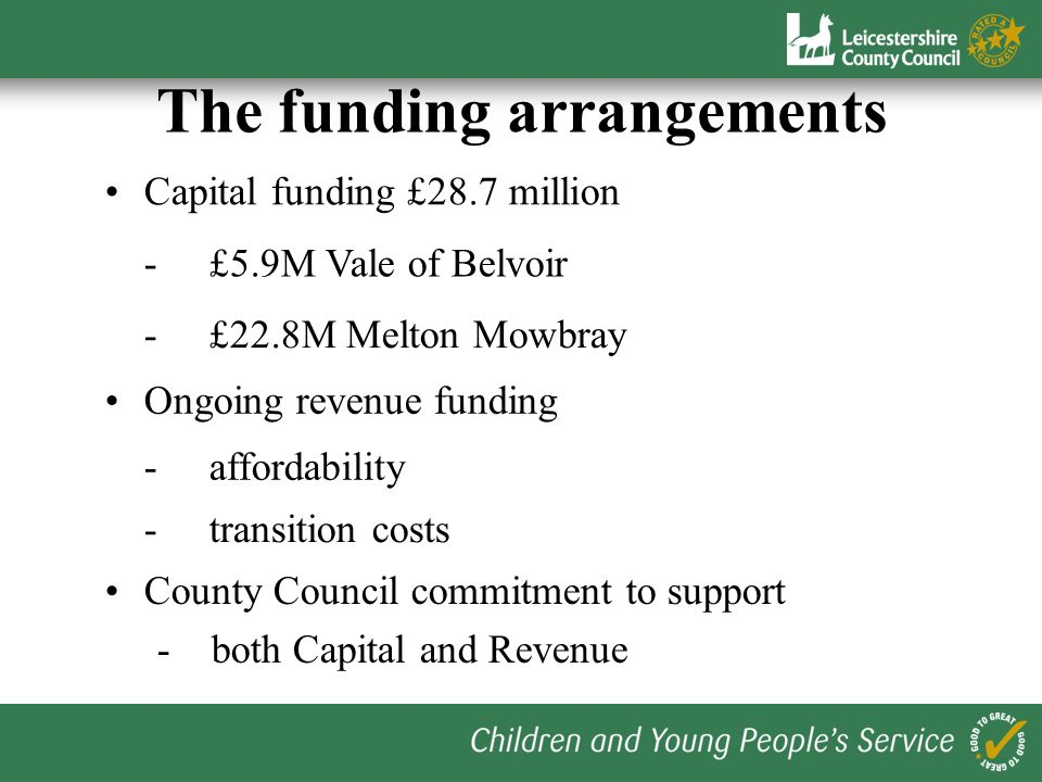 The funding arrangements Capital funding £28.7 million - £5.9M Vale of Belvoir - £22.8M Melton Mowbray -affordability Ongoing revenue funding -transit