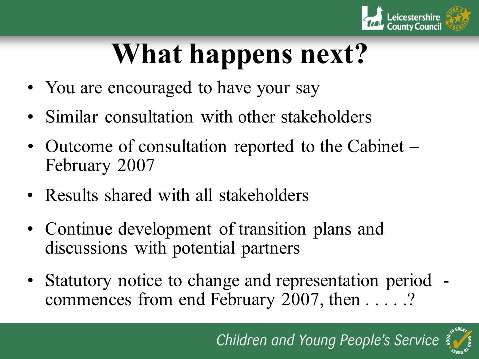 What happens next? You are encouraged to have your say Outcome of consultation reported to the Cabinet – February 2007 Similar consultation with other