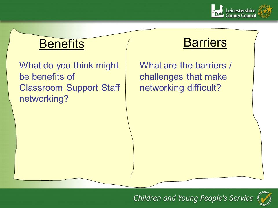 Benefits Barriers What do you think might be benefits of Classroom Support Staff networking.