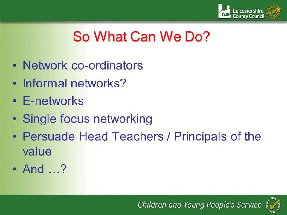 So What Can We Do. Network co-ordinators Informal networks.