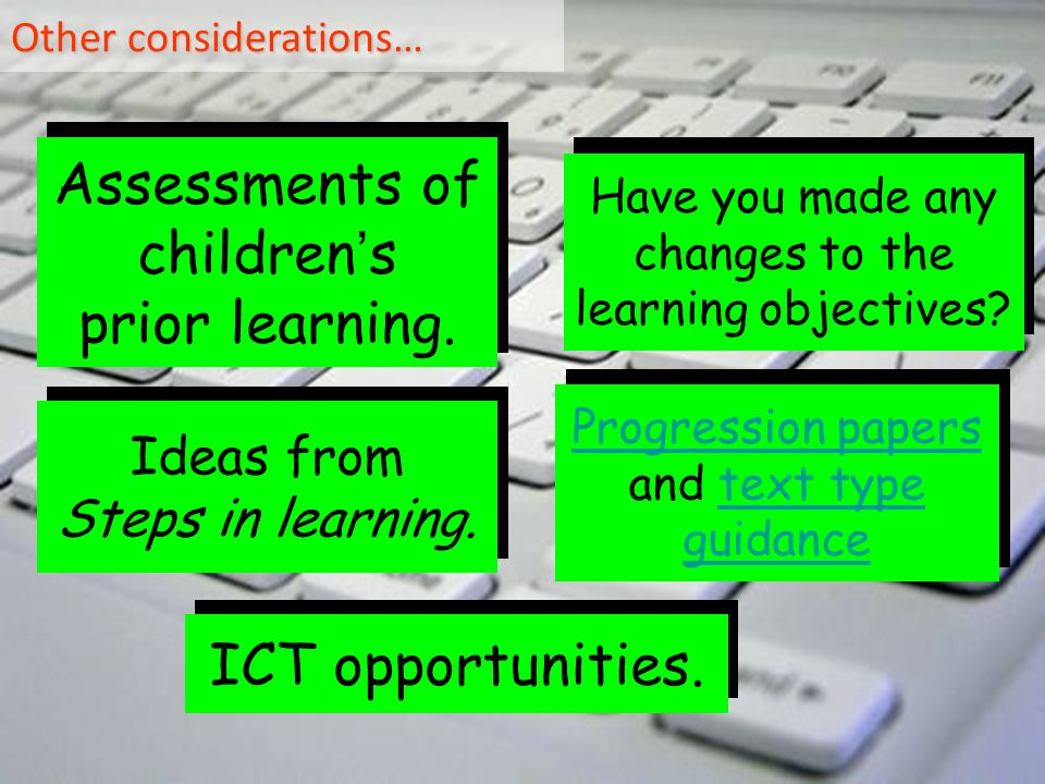 Other considerations… Assessments of children s prior learning.