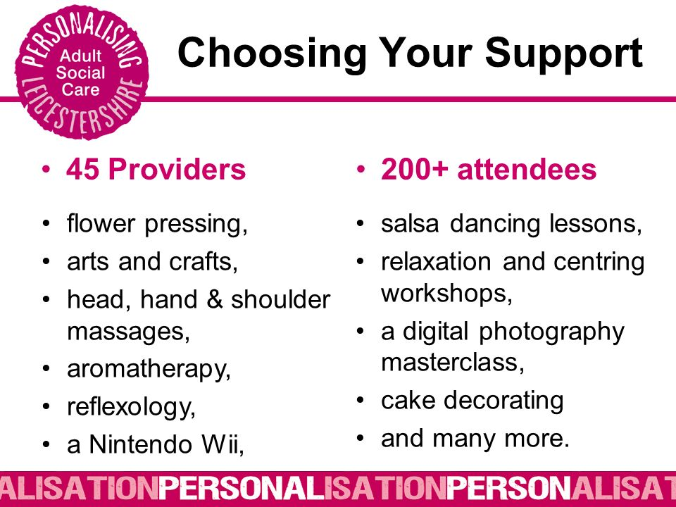Choosing Your Support 45 Providers200+ attendees flower pressing, arts and crafts, head, hand & shoulder massages, aromatherapy, reflexology, a Nintendo Wii, salsa dancing lessons, relaxation and centring workshops, a digital photography masterclass, cake decorating and many more.
