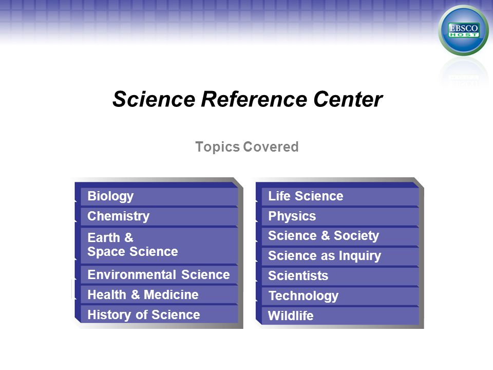 Topics Covered Science Reference Center Biology Chemistry Earth & Space Science Environmental Science Health & Medicine History of Science Life Scienc
