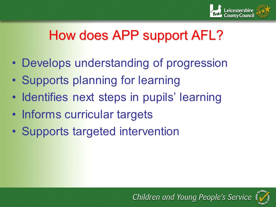How does APP support AFL.