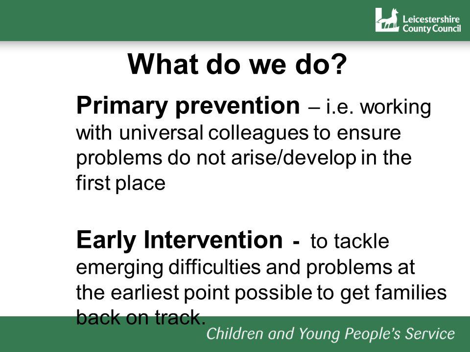 What do we do. Primary prevention – i.e.