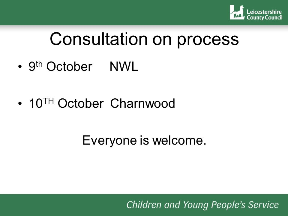 Consultation on process 9 th October NWL 10 TH October Charnwood Everyone is welcome.