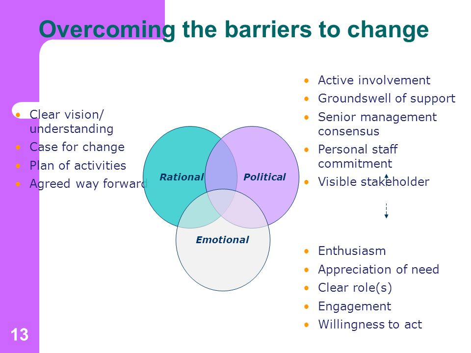 13 Overcoming the barriers to change Clear vision/ understanding Case for change Plan of activities Agreed way forward Active involvement Groundswell of support Senior management consensus Personal staff commitment Visible stakeholder support Enthusiasm Appreciation of need Clear role(s) Engagement Willingness to act Rational Political Emotional These are the difficult bits