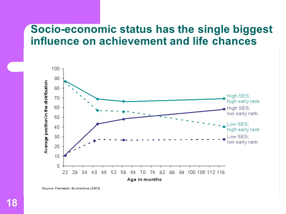 18 Socio-economic status has the single biggest influence on achievement and life chances