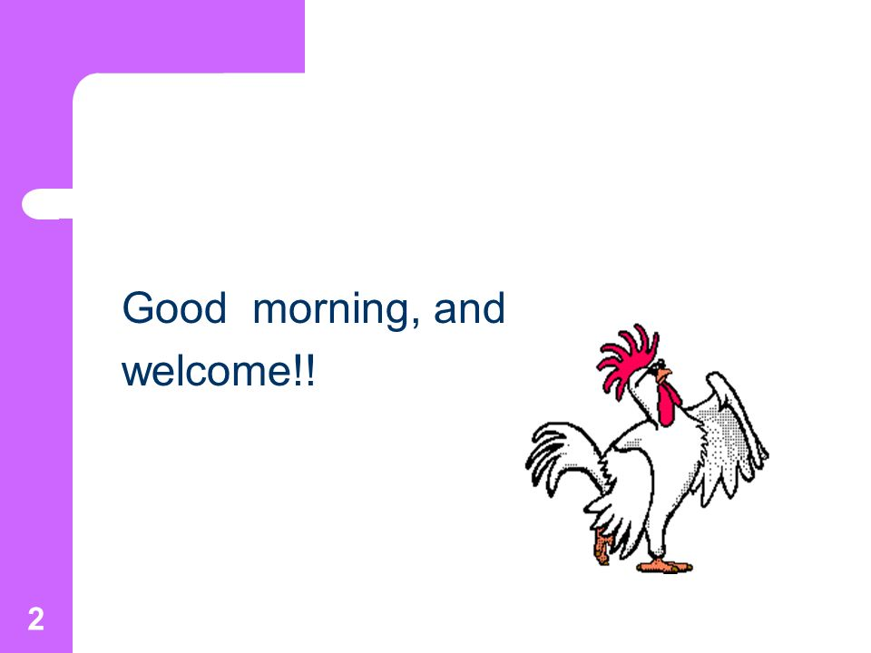 2 Good morning, and welcome!!
