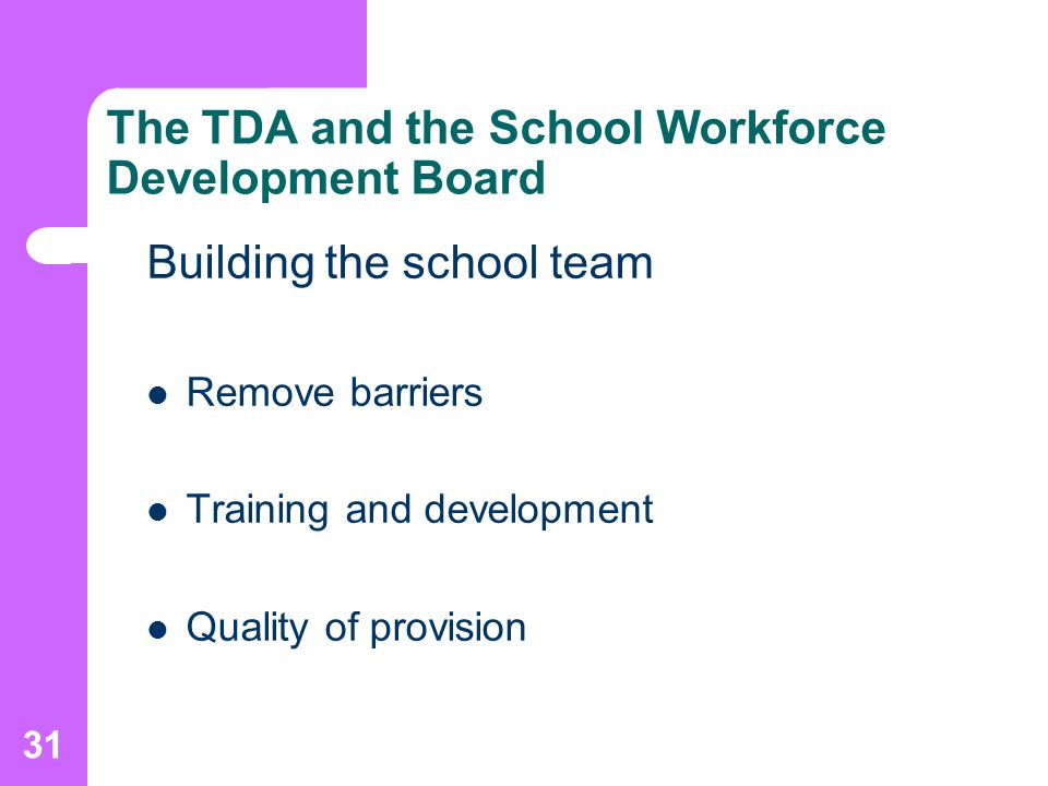 31 The TDA and the School Workforce Development Board Building the school team Remove barriers Training and development Quality of provision