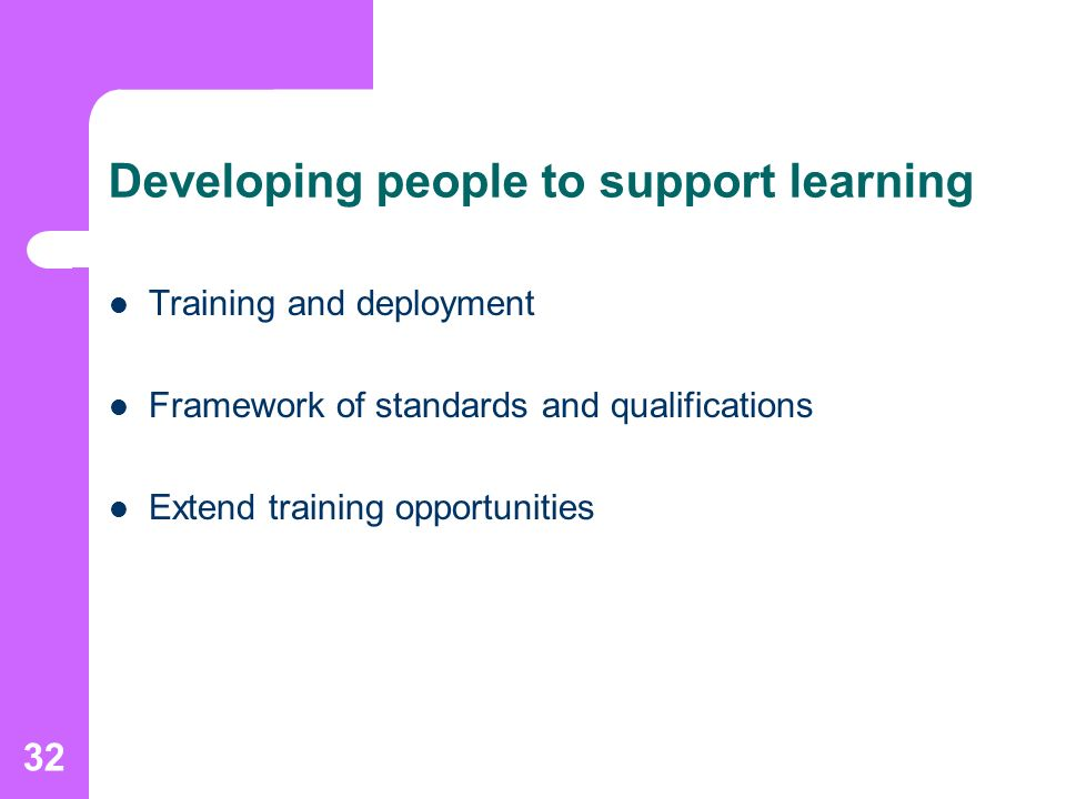 32 Developing people to support learning Training and deployment Framework of standards and qualifications Extend training opportunities