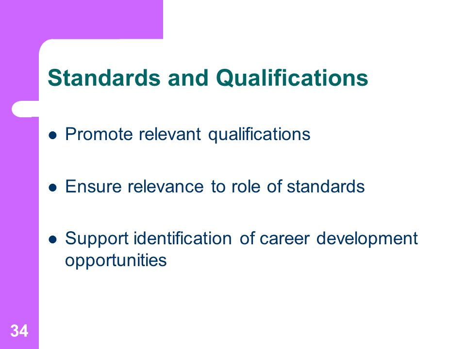 34 Standards and Qualifications Promote relevant qualifications Ensure relevance to role of standards Support identification of career development opportunities