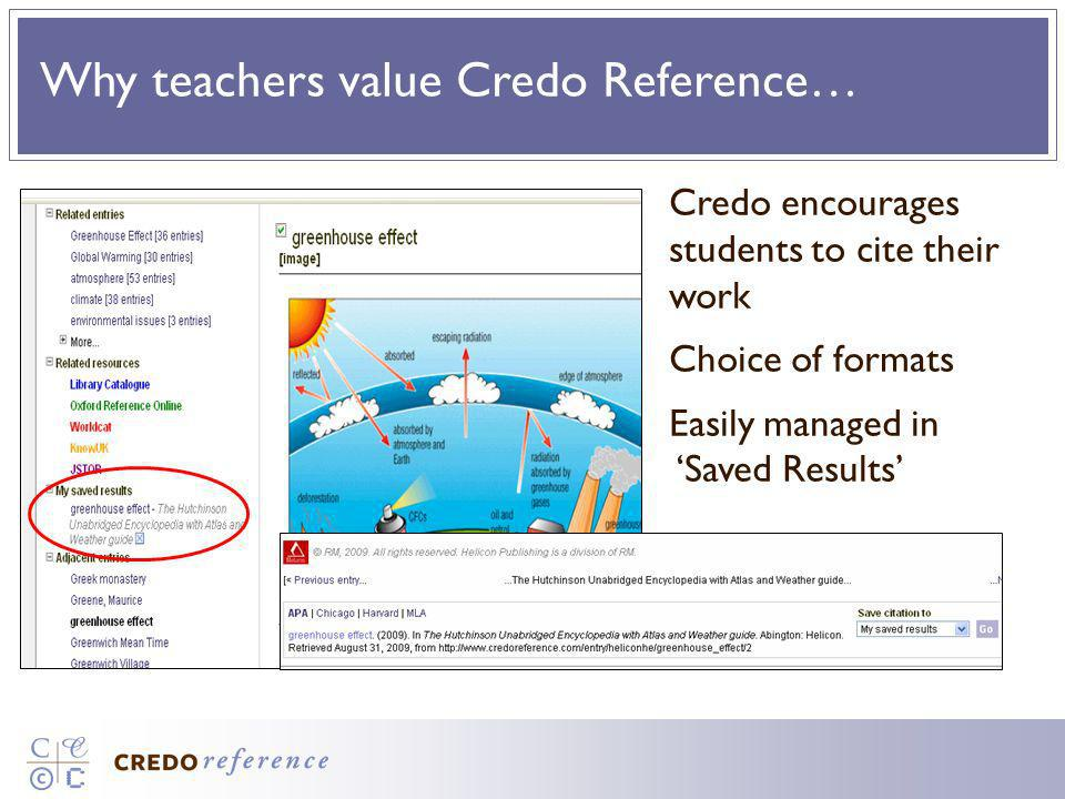 Why teachers value Credo Reference… Credo encourages students to cite their work Choice of formats Easily managed in Saved Results