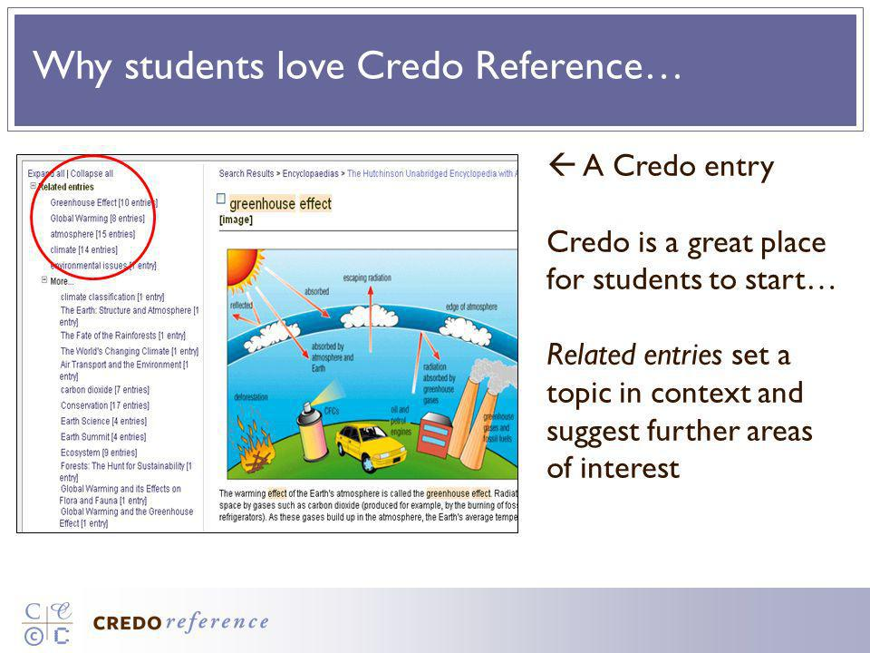 Why students love Credo Reference… A Credo entry Credo is a great place for students to start… Related entries set a topic in context and suggest furt