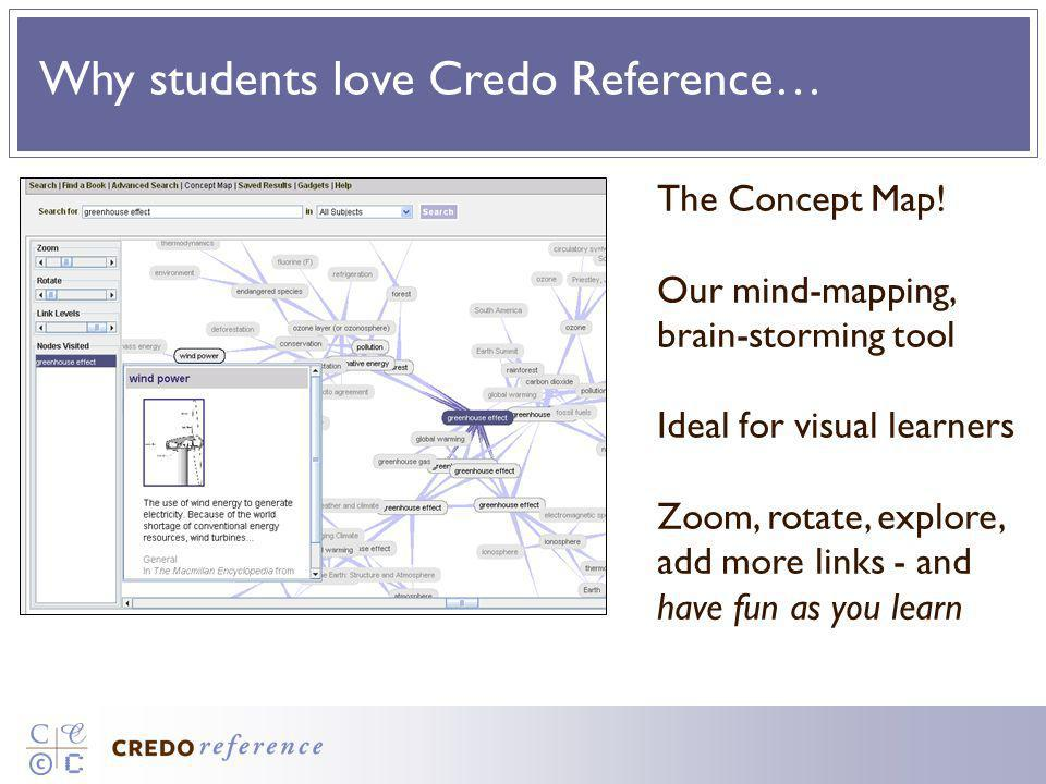 Why students love Credo Reference… The Concept Map! Our mind-mapping, brain-storming tool Ideal for visual learners Zoom, rotate, explore, add more li