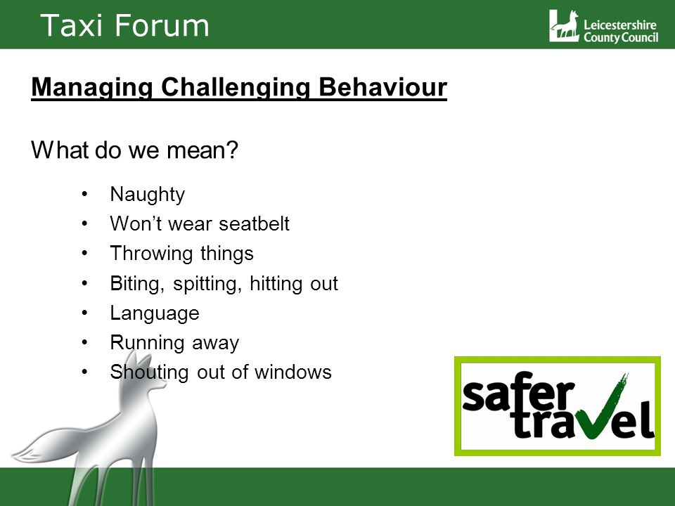 Taxi Forum Managing Challenging Behaviour What do we mean.