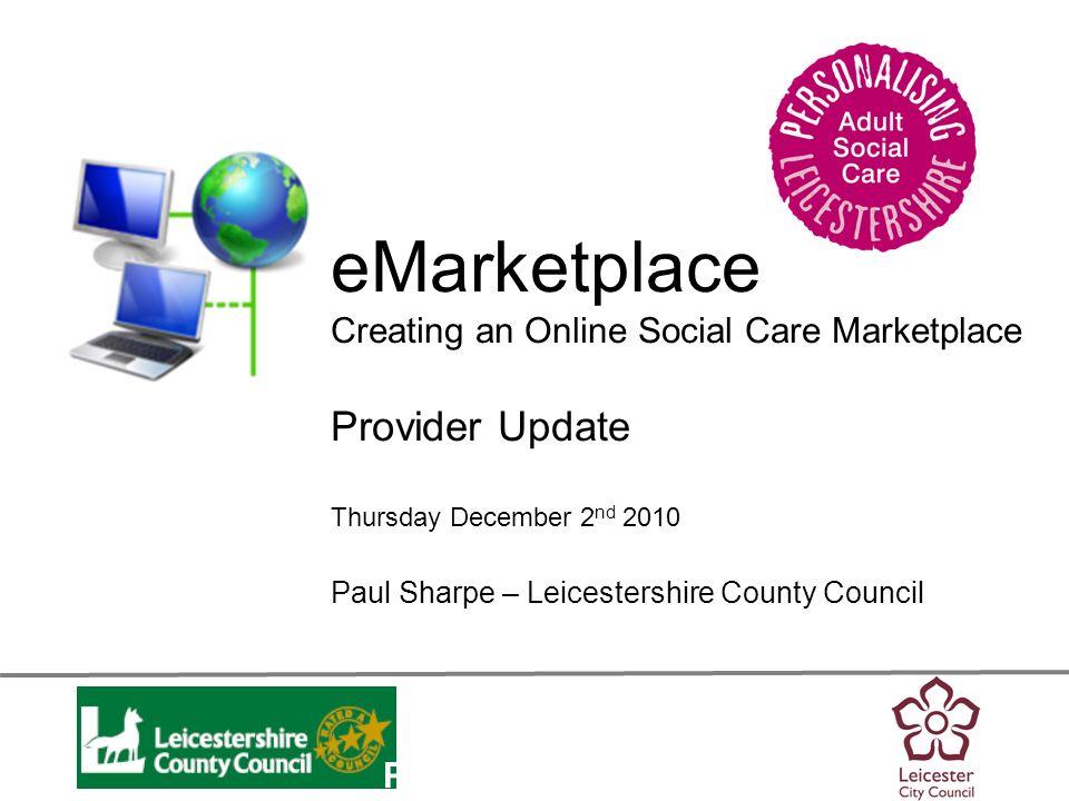Personalisation eMarketplace BACKGROUND / RECAP