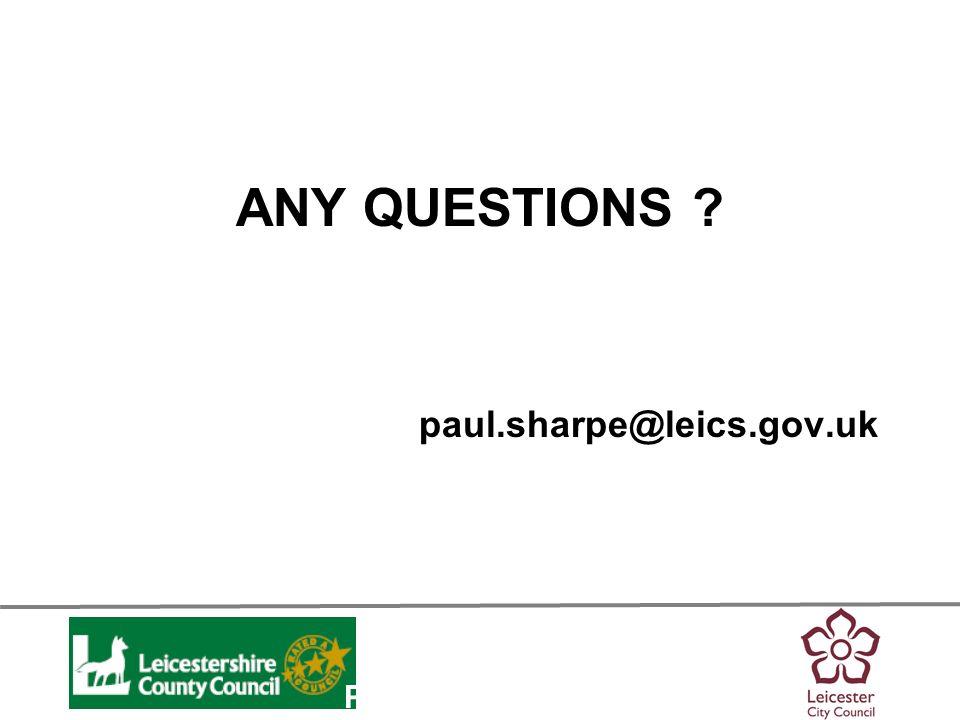 Personalisation ANY QUESTIONS ? paul.sharpe@leics.gov.uk