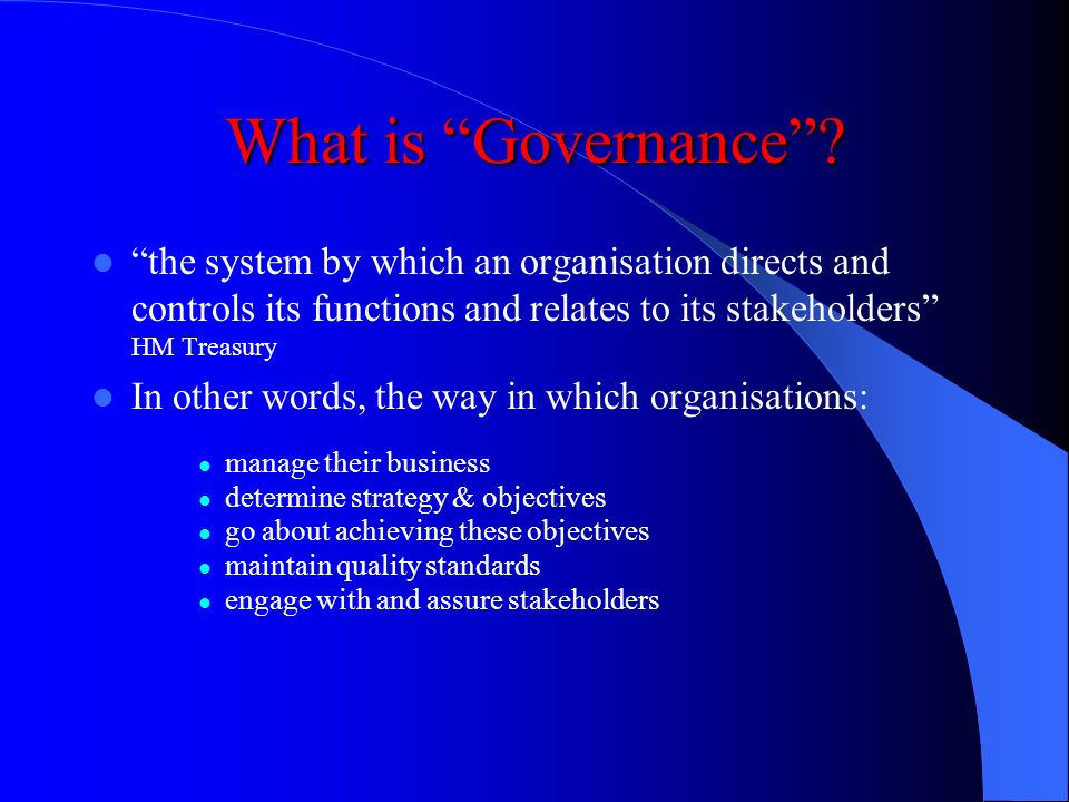 Governance in the HPSS The Whole Picture