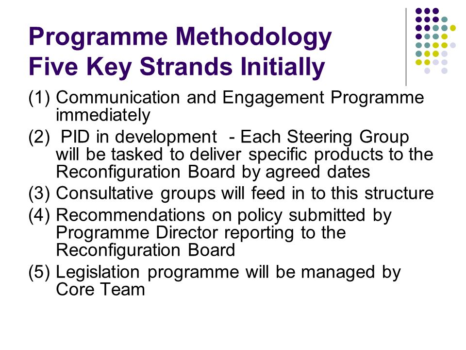 Programme Methodology Five Key Strands Initially (1) Communication and Engagement Programme immediately (2) PID in development - Each Steering Group w