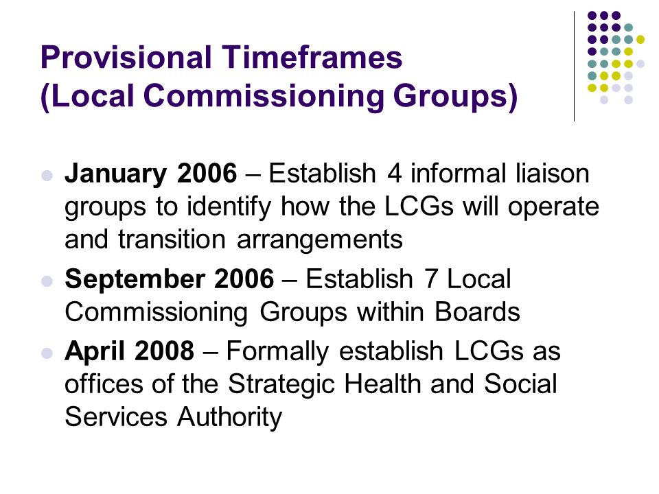 Provisional Timeframes (Local Commissioning Groups) January 2006 – Establish 4 informal liaison groups to identify how the LCGs will operate and trans