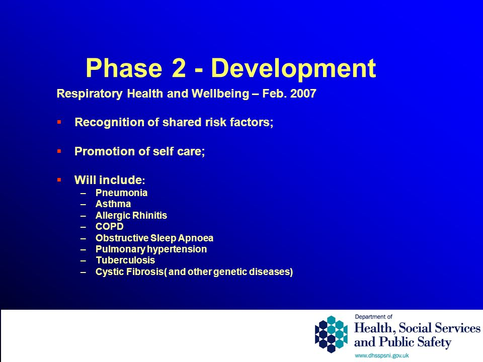 Phase 2 - Development Respiratory Health and Wellbeing – Feb. 2007 Recognition of shared risk factors; Promotion of self care; Will include : –Pneumon
