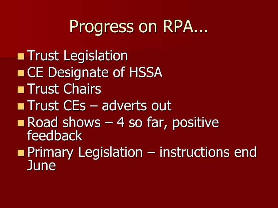 Progress on RPA... Trust Legislation Trust Legislation CE Designate of HSSA CE Designate of HSSA Trust Chairs Trust Chairs Trust CEs – adverts out Tru