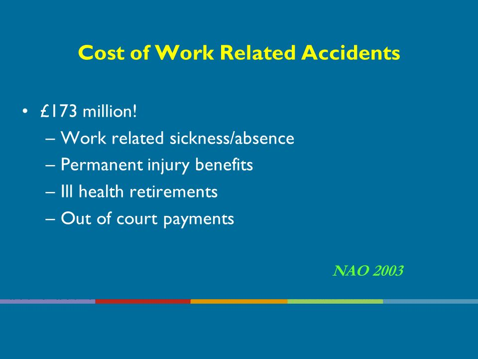 Health and Safety At Work in the NHS/HPSS The Health & Safety Executive has reported that every year, on average, there are: 135,000 accidents 2001/2 27 fatal accidents (mostly service users) 2,000 non-fatal major injuries (60% service users) These accidents follow similar patterns year after year These could have been easily prevented if people had taken simple well known precautions.