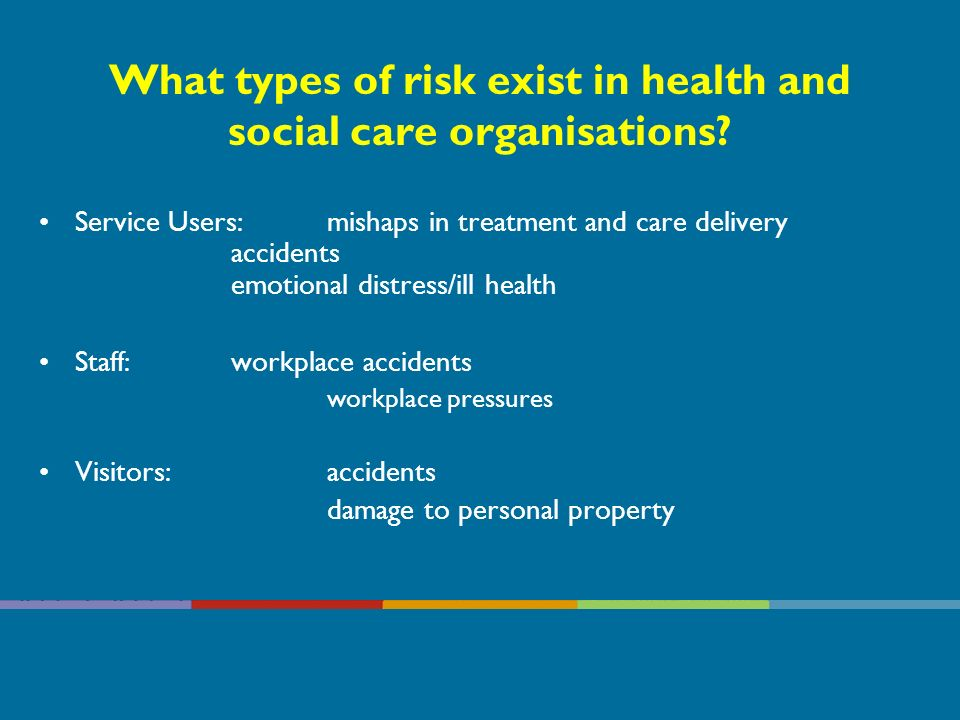 What types of risk exist in health and social care organisations.