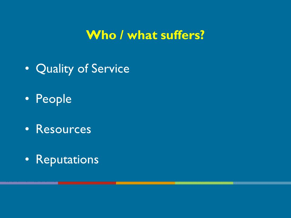Who / what suffers? Quality of Service People Resources Reputations