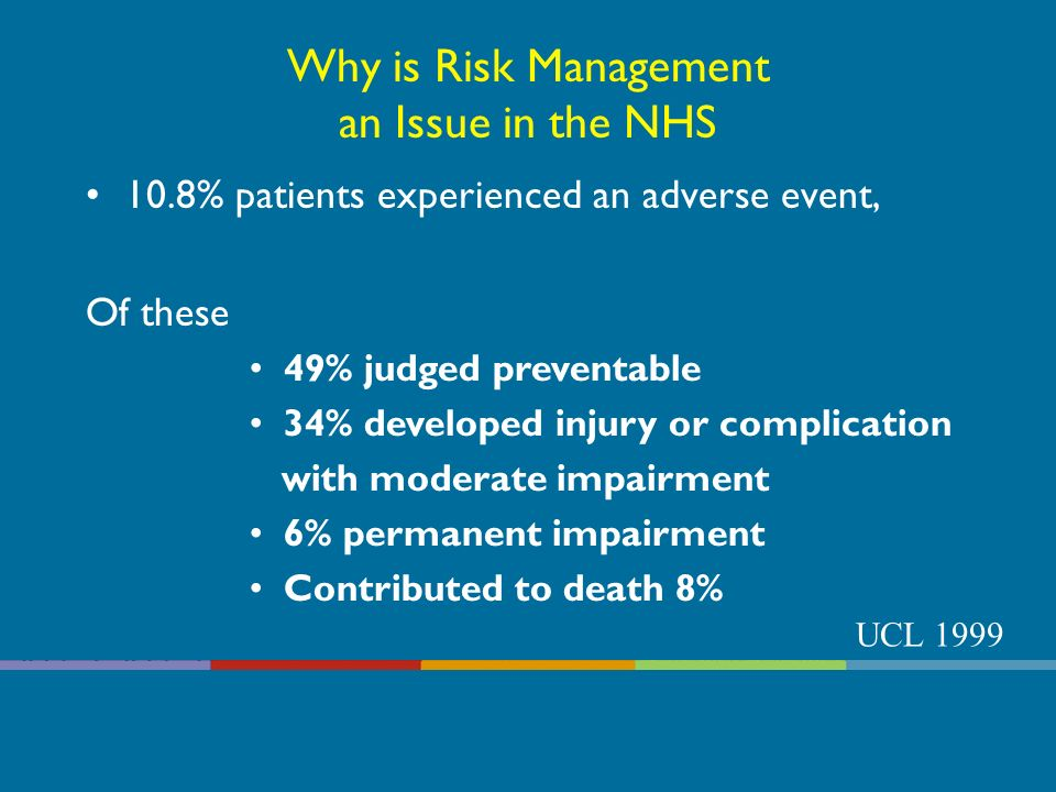 Why Risk Management is Important To: Enhance quality of treatment and care services Improve staff morale and productivity Provide safer environment for staff Improve public image Prevent future incidents Reduce costs of replacement, repair, and claims